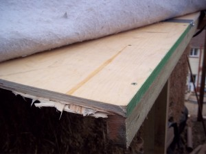 To create a drip edge, some 2x1 is screwed to the edge.