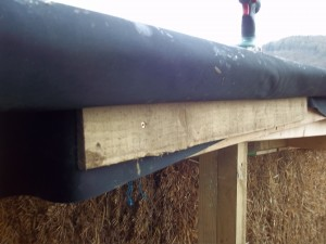 The membrane folds over the drip edge and up, and the feather edge board holds the membrane up.
