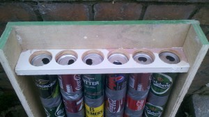 At the top, the connections need sealing to ensure the air flows through the cans.