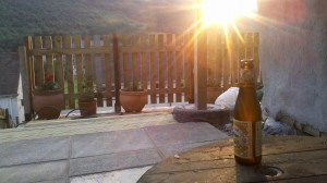 New patio, new cable reel table and a fresh beer. Glorious evening!